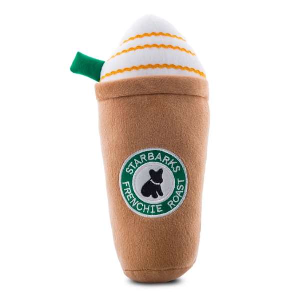 Starbarks Frenchie Roast Plush Toy with straw