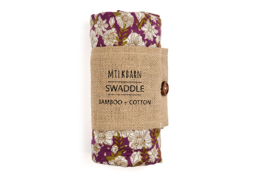 Bamboo Swaddle Grey Floral