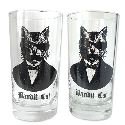 Bandit Cat Drinking Glasses