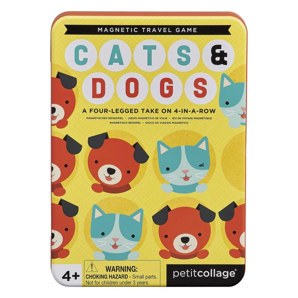 Petite Collage Cats + Dogs Four In A Row Magnetic Travel Game
