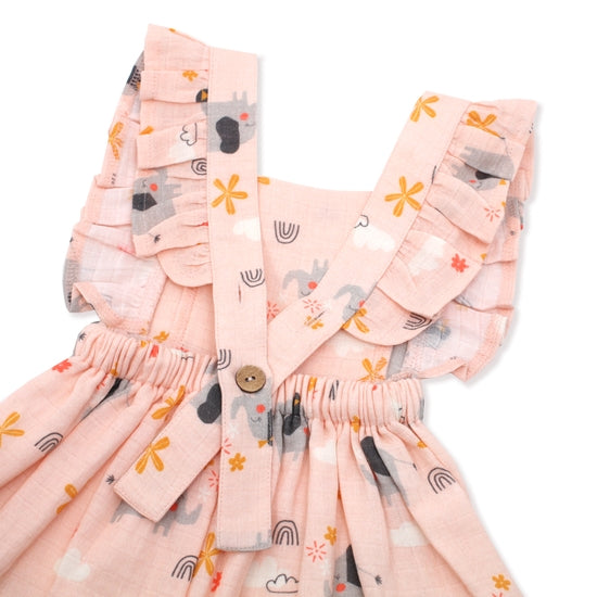 Elephant Ruffled Apron Dress + Bloomer Set