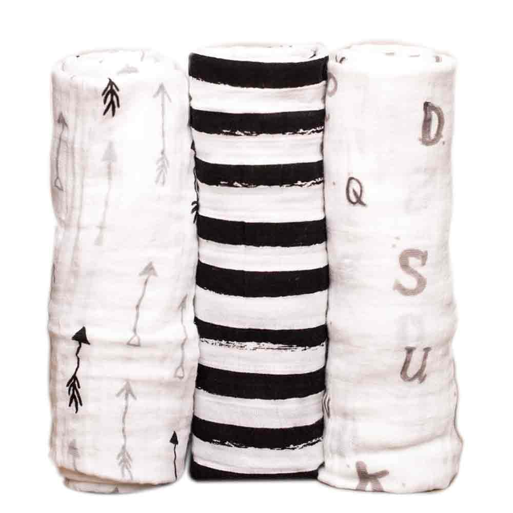 Black and White Cotton Swaddle Set
