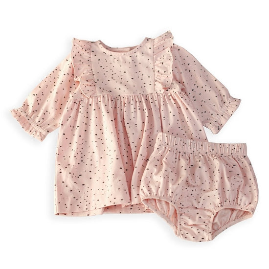 Pebble Flutter Baby Dress+Bloomer