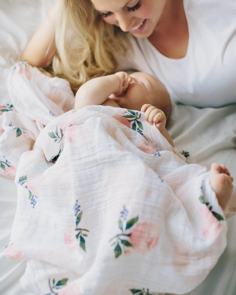 Watercolor Rose Cotton Swaddle