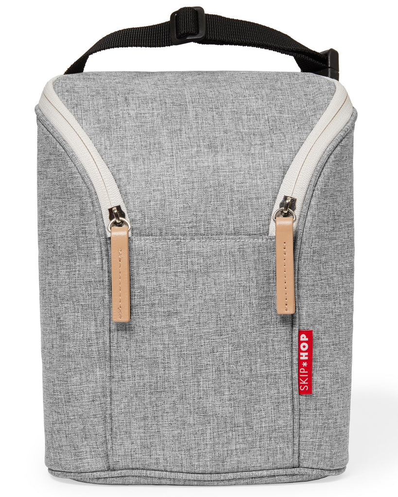 Grab & Go Gray Melange Double Bottle Bag