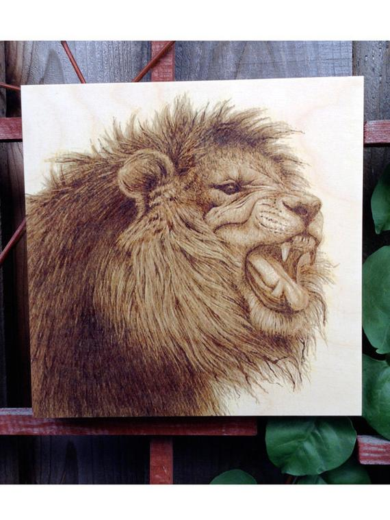 Lion Animal Portrait Coffee Painting Wood Print