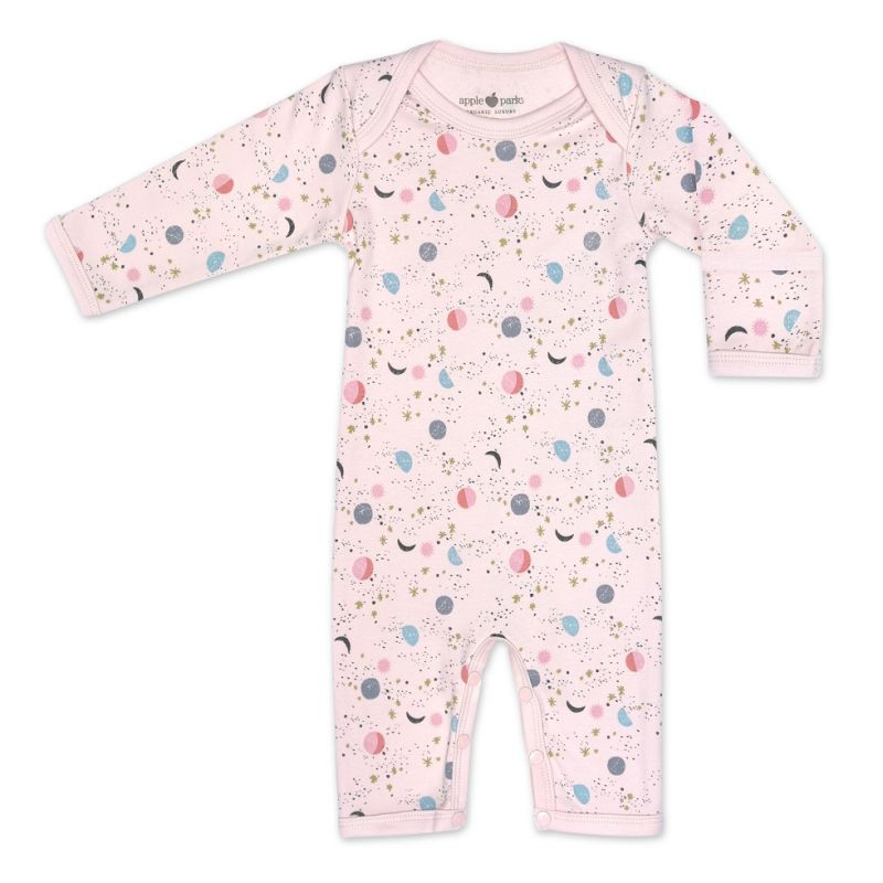 Organic Cotton Coverall - Pink Moon & Stars