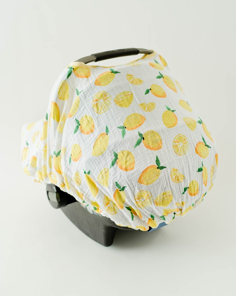 Cotton Muslin Car Seat Canopy - Lemon