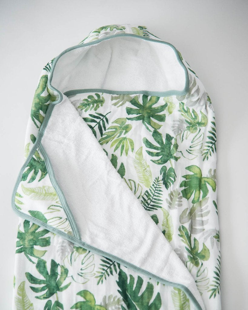 Tropical Leaf Big Kid Hooded Towel