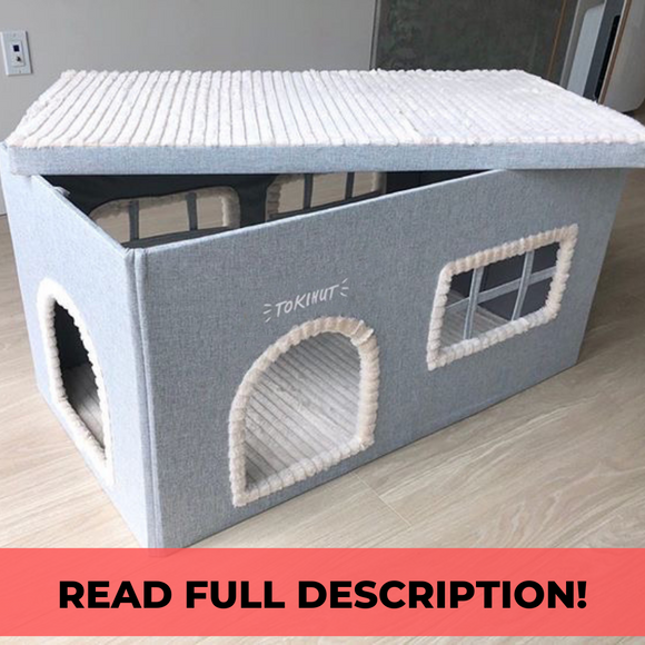Tokihut Grey Villa™️:2-in-1 Multipurpose Sturdy House and Litter Box Enclosure