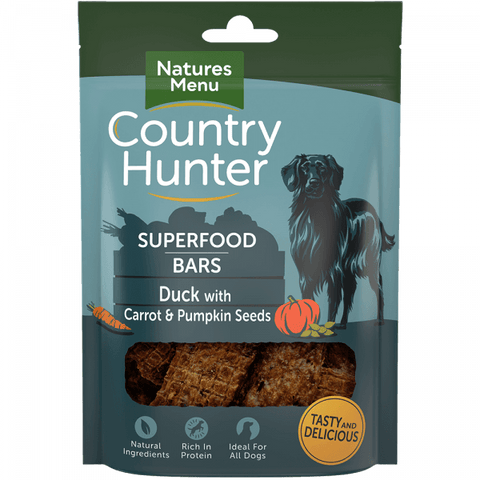 Natures Menu Superfood Bars Duck with Carrot & Pumpkin Seeds Dog Treats- Jurassic Bark Pet Store Littleport Ely Cambridge