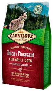 Carnilove Duck & Pheasant Dry Food for Adult Cats – Hairball Control Cat Food Dry- Jurassic Bark Pet Store Littleport Ely Cambridge