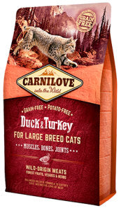 Carnilove Duck & Turkey for Large Breed Cats – Muscles, Bones, Joints Cat Food Dry- Jurassic Bark Pet Store Littleport Ely Cambridge