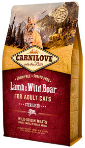 CARNILOVE Lamb & Wild Boar for Adult Cats – Sterilised Cat Food Dry- Jurassic Bark Pet Store Littleport Ely Cambridge
