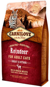 CARNILOVE Reindeer for Adult Cats – Energy & Outdoor Cat Food Dry- Jurassic Bark Pet Store Littleport Ely Cambridge