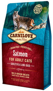 CARNILOVE Salmon for Adult Cats – Sensitive & Long Hair Cat Food Dry- Jurassic Bark Pet Store Littleport Ely Cambridge