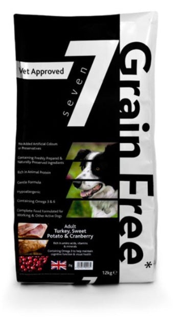 Seven Grain Free Adult Turkey with Sweet Potato & Cranberry - Jurassic Bark Pet Store Littleport Ely Cambridge
