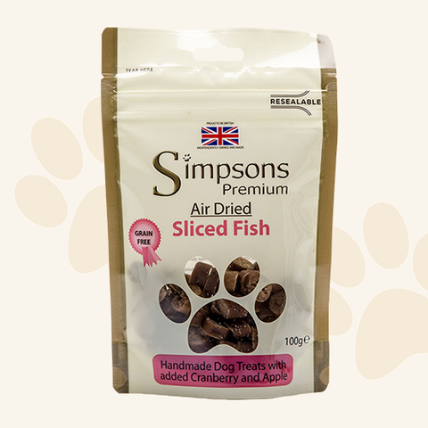 Simpsons Sliced Fish Air Dried Dog Treats 100g Dog Treats- Jurassic Bark Pet Store Littleport Ely Cambridge