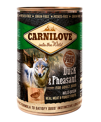 CARNILOVE Duck & Pheasant For Adult Dogs 6 x 400g dog food wet- Jurassic Bark Pet Store Littleport Ely Cambridge