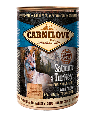 CARNILOVE Salmon & Turkey For Adult Dogs 6 x 400g Dog Food Wet- Jurassic Bark Pet Store Littleport Ely Cambridge