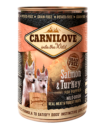 CARNILOVE 6 x 400g Salmon & Turkey For Puppies dog food wet- Jurassic Bark Pet Store Littleport Ely Cambridge