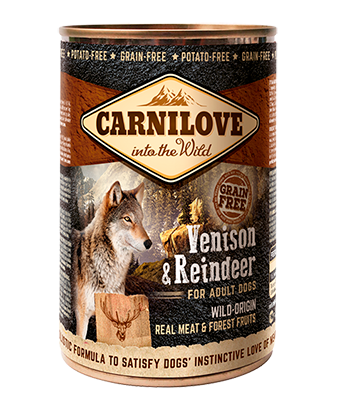 Carnilove 6 x 400g Venison & Reindeer For Adult Dogs dog food wet- Jurassic Bark Pet Store Littleport Ely Cambridge