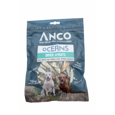 Anco Oceans Dried Sprats Dog Treats- Jurassic Bark Pet Store Littleport Ely Cambridge