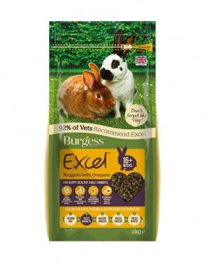 Burgess Excel Adult Rabbit Nuggets with Oregano 2kg Small Animal Food- Jurassic Bark Pet Store Littleport Ely Cambridge