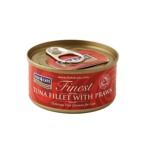 Fish4Cats Finest Tuna Fillet with Prawn Pack of 6 Cat Food Wet- Jurassic Bark Pet Store Littleport Ely Cambridge