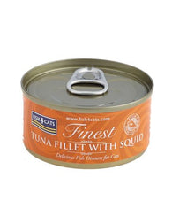 Fish4Cats Finest Tuna Fillet with Squid Pack of 6 Cat Food Wet- Jurassic Bark Pet Store Littleport Ely Cambridge