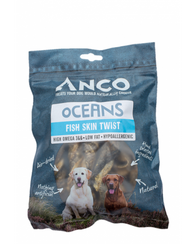 Anco Oceans Fish Skin Twists 100g Dog- Jurassic Bark Pet Store Littleport Ely Cambridge