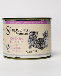 Simpsons Chicken & Turkey with Salmon for kittens 200g x 6