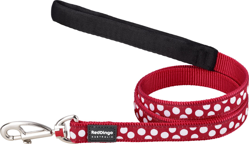 Red Dingo Spots Dog Lead Lead Dog- Jurassic Bark Pet Store Littleport Ely Cambridge