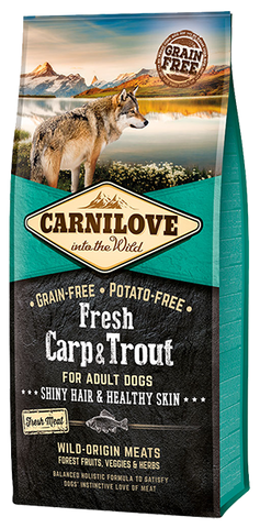 CARNILOVE Fresh Carp & Trout Adult Dog Food Dry- Jurassic Bark Pet Store Littleport Ely Cambridge