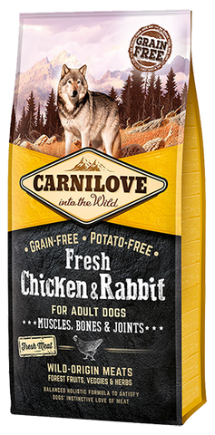 Carnilove Fresh Chicken & Rabbit Adult Dog Food Dry- Jurassic Bark Pet Store Littleport Ely Cambridge