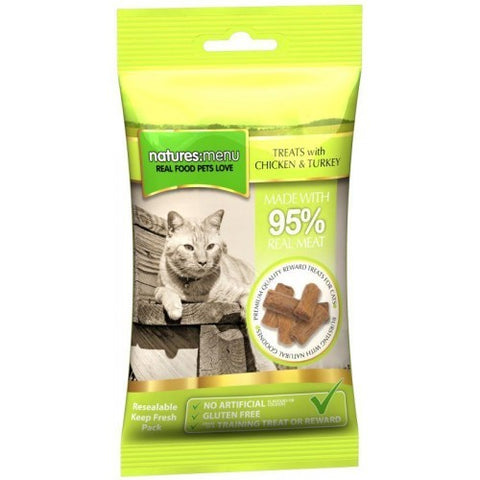 Natures Menu Real Meaty Cat Treats Chicken & Turkey 60g Cat Treats- Jurassic Bark Pet Store Littleport Ely Cambridge