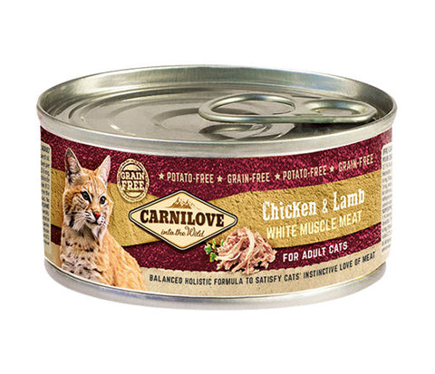 CARNILOVE Cat Chicken & Lamb 6 x 100g Cat Food Wet- Jurassic Bark Pet Store Littleport Ely Cambridge