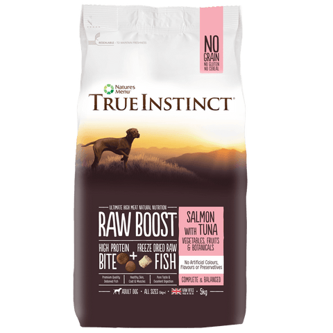 True Instinct Raw Boost Salmon with Tuna for Adult Dogs Dog Food Dry- Jurassic Bark Pet Store Littleport Ely Cambridge