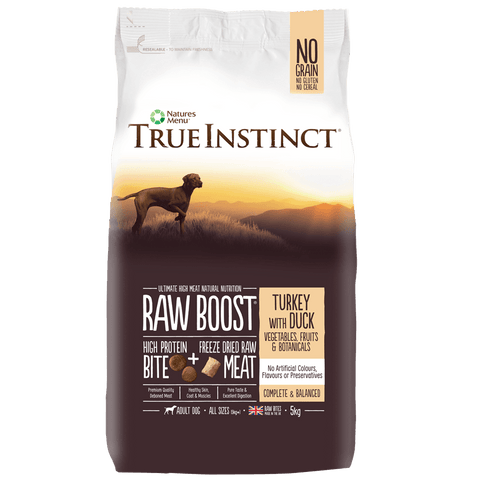 True Instinct Raw Boost Turkey with Duck for Adult Dogs Dog Food Dry- Jurassic Bark Pet Store Littleport Ely Cambridge
