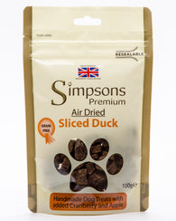 Simpsons Sliced Duck Air Dried Dog Treats 100g