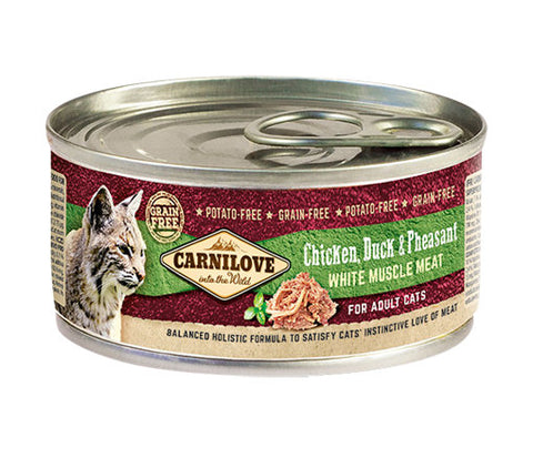 Carnilove Cat Chicken, Duck & Pheasant 6 x 100g Cat Food Wet- Jurassic Bark Pet Store Littleport Ely Cambridge
