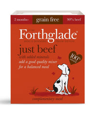 Forthglade Adult Dog Tray - Just Beef 1x 395g Dog- Jurassic Bark Pet Store Littleport Ely Cambridge