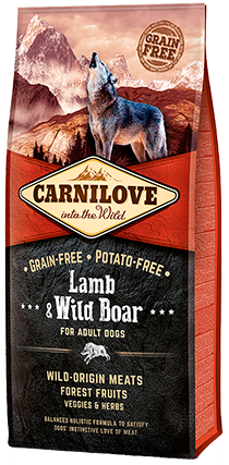 CARNILOVE Lamb & Wild Boar for Adult Dog Food Dry- Jurassic Bark Pet Store Littleport Ely Cambridge
