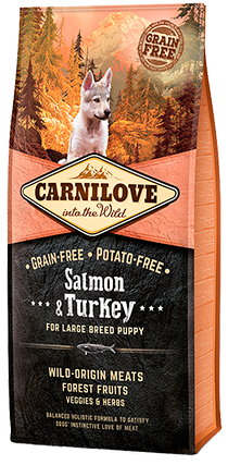 Carnilove Salmon & Turkey for Large Breed Puppy Dog Food Dry- Jurassic Bark Pet Store Littleport Ely Cambridge
