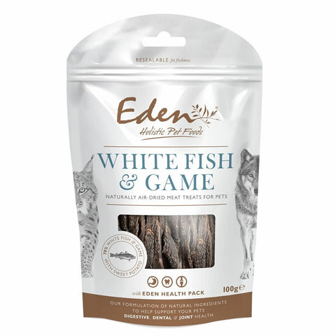 EDEN White Fish and Game Treat 100g Dog Treats- Jurassic Bark Pet Store Littleport Ely Cambridge