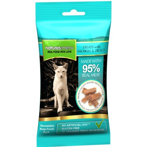 Natures Menu Real Meaty Cat Treats Salmon & Trout 60g Cat Treats- Jurassic Bark Pet Store Littleport Ely Cambridge