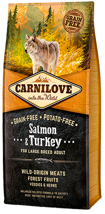 CARNILOVE Salmon & Turkey for Large Breed Adult Dog Food Dry- Jurassic Bark Pet Store Littleport Ely Cambridge