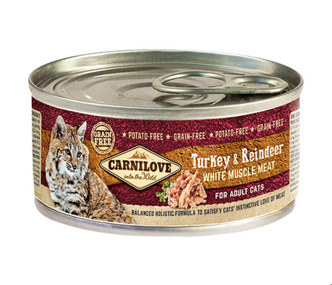 CARNILOVE Cat Turkey & Reindeer 6 x 100g Cat Food Wet- Jurassic Bark Pet Store Littleport Ely Cambridge