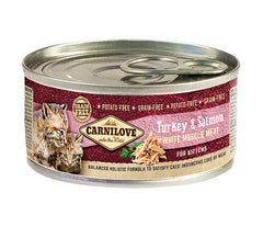 Carnilove Turkey & Salmon Kitten 6 x 100g Cat Food Wet- Jurassic Bark Pet Store Littleport Ely Cambridge