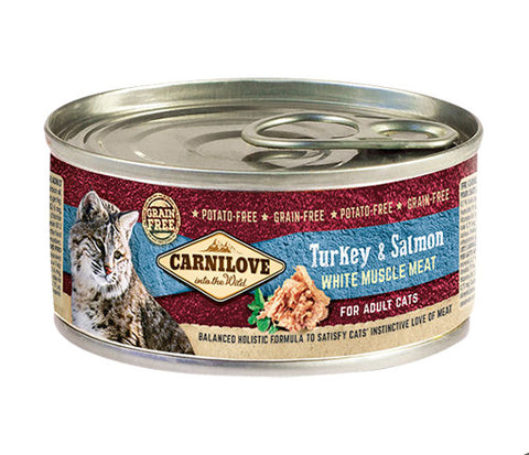CARNILOVE Cat Turkey & Salmon 6 x 100g Cat Food Wet- Jurassic Bark Pet Store Littleport Ely Cambridge